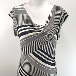Black White Striped Maxi Dress Sz Medium Modern